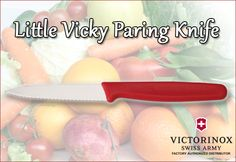 """The ''Little Vicky"""" Paring Knife is one of our most popular knives! It has a red nylon handle and a high carbon stainless steel blade that measures 3.25"""". It's the perfect knife for slicing tomatoes, onions and other produce. Order yours today for as low as $3.20!"""