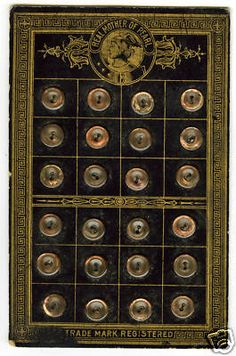 Antique Real Pearl Buttons on Original Card; Circa 1896