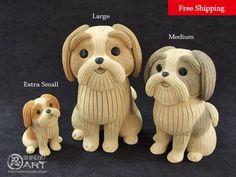 "Etsy のKawaii Ceramic Dog ""Shih Tzu"", Ceramic Paperweight, Desk Accessories, Ceramic Animals, Free Shipping(ショップ名:ShinobuArakiArt)"