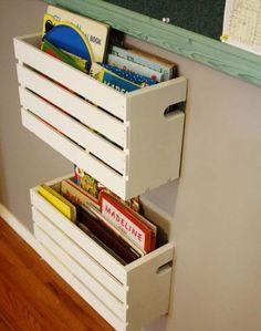 Ideas diy shelves for kids room organizations wooden crates Crate Bookshelf, Bookshelf Ideas, Pallet Shelves, Diy Bookshelves For Kids, Gutter Bookshelf, Wood Crate Shelves, Diy Bookcases, Diy Casa, Wooden Crates