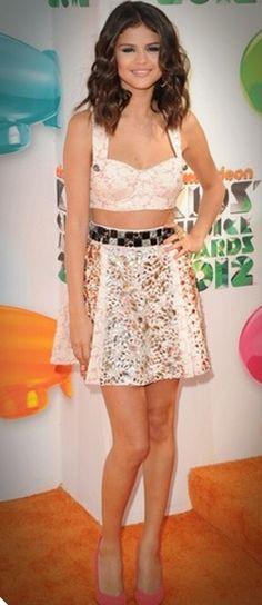 high skirt w/ crop top