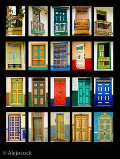 puerta jerico antioquia - Google Search Fonda Paisa, Casa Hotel, Painted Doors, Amazing Architecture, Windows And Doors, Glamping, Hotel Parque, Building, Sheds
