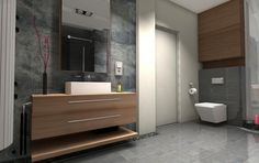 Drewniana szafka pod umywalkę w łazience