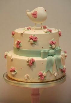 Cupcake: Passarinho rosa e verde água