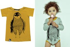 Image of MINI & MAXIMUS t-shirt falling iceburgs owl, mustard