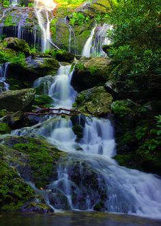 Catawba Falls waterfall in Pisgah National Forest near Asheville NC