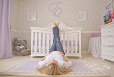 Such a pretty idea for a mom to be photo!  The lavender room is gorgeous.....