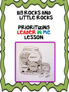 "A step by step lesson that teaches students what are the important things in life through the idea of important things being ""big"" rocks and lesser important things are ""little"" rocks. Students will learn how to ""put first things first"" and also have the opportunity to create their own big rocks and little rocks project that could be turned into a hallway display or into their leadership notebooks."