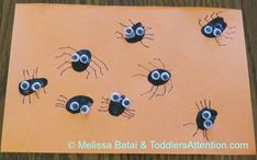 Spooky spiders fingerprints for Halloween - fun craft together with the little ones.
