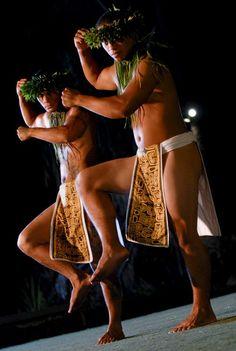 Male hula dancers at the  Old Lahaina Luau