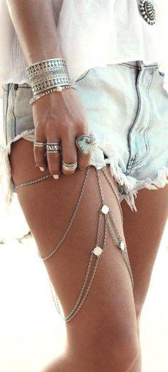 Coachella style jewellery, Coachella accessories, leg chain, music festival jewlery
