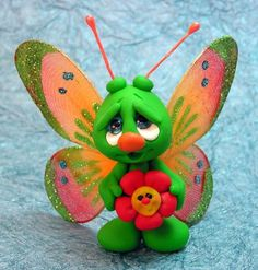 *POLYMER CLAY ~ OOAK Hand Sculpted Polymer Clay Butterfly and Flower