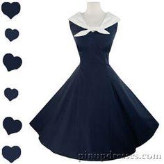 New Navy Blue Sailor Swing Dress