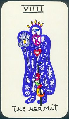 Tarot cards // The mermit // Niki de Saint Phalle // Drawing Jean Tinguely, The Hermit Tarot, Online Tarot, French Sculptor, Tarot Major Arcana, Knit Art, Mid Century Modern Art, Naive Art, Oracle Cards