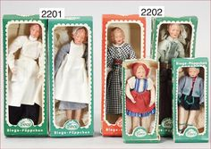 German Caco dolls.  Note doctor and nurse on the left.