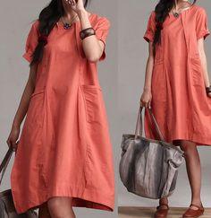 Large pocket lantern linen summer dress / orange by dreamyil, $88.00