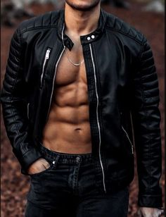 Hot Guys Tattoos, Abs Boys, Leather Jacket Outfits, Men's Leather Jackets, Muscular Men, Jacket Style, Leather Men, Cowhide Leather, Real Leather
