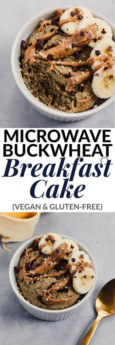Ready in under 10 minutes, this Microwave Buckwheat Breakfast Cake is a healthy, filling breakfast to make in a hurry. It's vegan, gluten-free, and packed with whole grains! Vegan Breakfast Recipes, Vegan Recipes Easy, Gluten Free Recipes, Whole Food Recipes, Detox Recipes, Vegan Keto, Vegan Baking, Vegan Gluten Free, Plant Based Breakfast