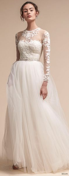 bhldn fall 2017  americana bridal long sleeves illusion jewel sweetheart neck heavily embellished bodice tulle skirt romantic soft a  line wedding dress sheer lace back sweep train (jessica) mv -- BHLDN Freshest Fall 2017 Wedding Looks