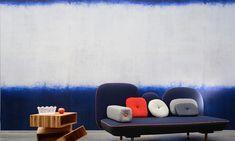 Elitis Tempo Sirtaki TP 270 02 wallpaper.  Blue and white large scale horizontal stripe mural wallpaper.  Free shipping!