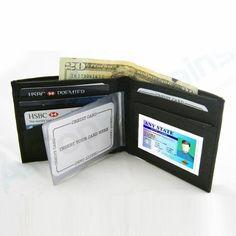 RFID Wallet Leather Black Blocking Bi-Fold Data Safe New Men Holder Case Card !!
