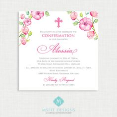 Printable Baptism Invitation- Watercolor Girls Baptism Invitation - Baby Dedication, First Communion, Confirmation, Christening by MsfitDesigns on Etsy