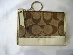 Vintage Coach Beige Tan Signature Wallet Change Coin Purse ID Holder With Key Chain by CLASSYBAG on Etsy