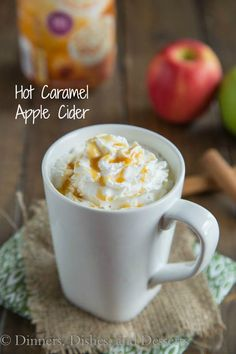 Hot Caramel Apple Cider - perfect for a cool fall day