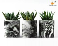 Made to Order Black and White Marbled Geometric Succulent Planter / Container / Unique Gift Container Gardening Vegetables, Succulents In Containers, Container Plants, Vegetable Gardening, Concrete Crafts, Concrete Planters, House Plants Decor, Plant Decor, Cement Flower Pots