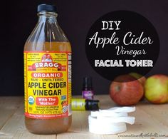 DIY apple cider vinegar facial toner made from raw apple cider vinegar balances the natural pH of the skin, clears away excess oils and make-up, and breaks up the bonds between dead skin cells (exfoliating) to keep skin pores open.