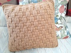 Ravelry: chitweed's Basket Weave Pillow. Using the stitch from a Free crochet afghan pattern, I made a pillow cover instead. Sturdy yarn and a washable pillow form should make this last a long time.