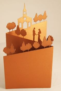 Stunning pop-up #wedding #invitations from Melbourne Laser Cutter // I wonder if I could do something like this with a Nativity scene for a Christmas card?? Probably be pretty tricky getting a cutout that exact to look any good doing it just by hand. Hm. :-/