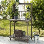 Coral Coast Halstead Outdoor Wood Potting Bench With Storage- Brown - Potting Benches at Hayneedle