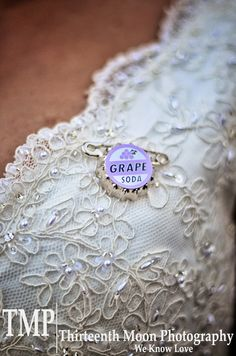Ellie badge - grape soda themed after the Disney Pixar movie UP on the bride's wedding gown