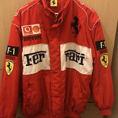 Vintage Red Ferrari Jacket As seen on Lana Del Rey for live - Depop - Nagel Design Prestige Clothing, Ferrari, Its A Mans World, Classic Outfits, Motorcycle Jacket, Retro Vintage, Halloween Costumes, Fashion Outfits, Live