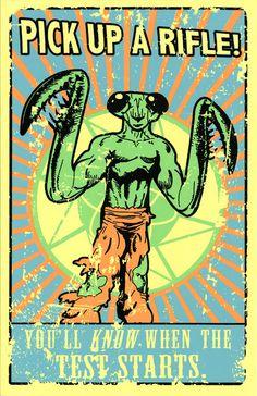 "Anti Mantis Men Propaganda (Portal 2 inspired Silkscreen Print) - 11"" x 17"". $15.00, via Etsy."