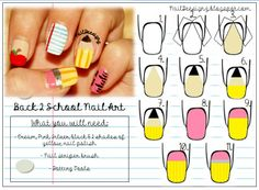 Back 2 School Nail Art Tutorial .x.  http://naildeesignz.blogspot.co.uk/2013/09/back-to-school-nail-art_5.html
