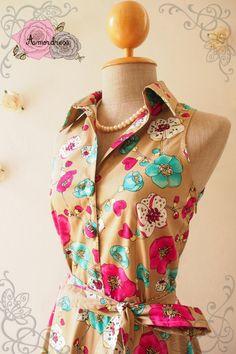 Fancy Floral Dress Tea Party Dress Floral Summer by Amordress