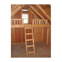 Wood Playhouse loft kit This kit will fit any style Little Cottage Co. The kit comes precut and ready to assemble, and is complete with floor, railing, and ladder! Loft measures d Wooden Playhouse Kits, Kids Playhouse Plans, Outside Playhouse, Backyard Playhouse, Build A Playhouse, Pallet Playhouse, Playhouse Interior, Playhouse Decor, Wood Doors