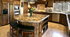 remarkable delicate granite top kitchen island with seating luxury black leather bar stools combined granite kitchen island fantastic look Marble Top Kitchen Island, Portable Kitchen Island, Kitchen Island With Seating, Kitchen Island Lighting, Kitchen Tops, Kitchen Decor, Kitchen Islands, Kitchen Ideas, Granite Kitchen