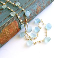 #4 Les Coquilles de la Mer Necklace - Aquamarine Carved Shells Pearls