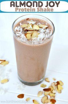 Almond Joy Protein Shake. 1/2 cup almond milk, 2 tbsp. shredded coconut, 2 tbsp. sliced almonds, ice, chocolate protein powder. Blend.