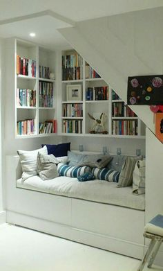 The most snug and cosy 'book nooks' to inspire the creation of your own retreat Interior , Reading Nook Ideas; Cozy Space To Relax While Enjoying A Book : Reading Nook Under Stairs With Book Collections House Design, Loft Conversion, Room Design, House Interior, Attic Rooms, House, Home, Interior, Home Decor