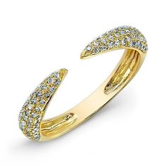 Buy 14k yellow gold pave horn ring online – Anne Sisteron