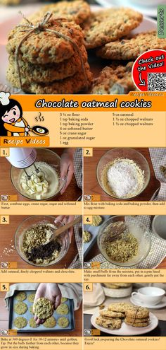 Schoko-Haferflocken-Kekse Taste these delicious chocolate oatmeal cookies! The chocolate oatmeal biscuit recipe video is easy to find using the QR code :] Christmas Cookies # Chocolate Oatmeal Cookies, Oatmeal Cookie Recipes, Healthy Dessert Recipes, Baking Recipes, Healthy Food, No Sugar Foods, Healthy Chocolate, Baking Chocolate, Biscuit Recipe