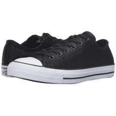 Converse Chuck Taylor All Star Stingray Metallic Ox... ($75) ❤ liked on Polyvore featuring shoes, sneakers, black shoes, white and black shoes, star sneakers, converse trainers and converse shoes