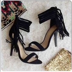 """⭐️MANY SIZES!⭐️NIB Black Ankle Fringe Heels NIB Black Ankle Fringe Heels. These fun heels dress up any outfit! Gathered ankle fringe detail with gold zipper closure in back. 4 inch heel. Padded footbed for comfort. Ankle strap is about 9-10"""" around. True to size. Available in 5, 6, 6.5, 7, 7.5, 8.5No Trades and No PaypalSold out of 5.5, 9's Shoes Heels"""