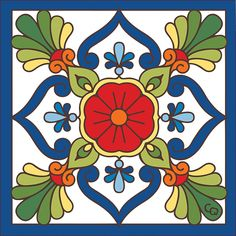 Blue Talavera Design decorative art tile is hand painted and hard fired at over 1800 degrees making it ready for use indoors or outdoors Tile Murals, Tile Art, Motifs Islamiques, Motif Arabesque, Art Populaire, Tuile, Mexican Art, Mexican Tiles, Decorative Tile