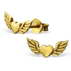 Clou d oreille coeur avec ailes