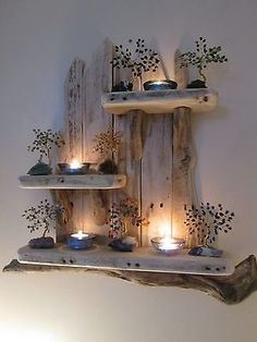 Enchanting Unique Driftwood Shelves Solid Rustic Shabby Chic Nautical Artwork